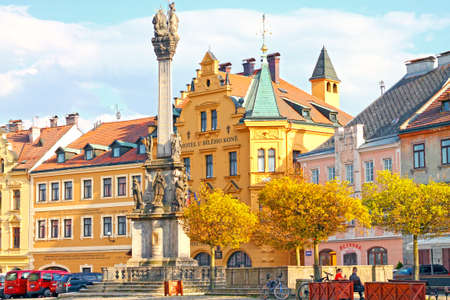 View of medieval town Loket (market square with marian column). Czech Republic - April 17, 2020
