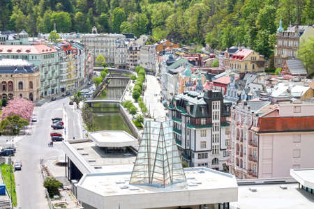 View of street with hot spring colonnade Vridlo in Karlovy Vary. Czech Republic. 05/05/2020 year