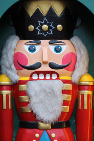 Christmas traditional wooden decoration - nutcracker on advent market in Leipzig. Germany.