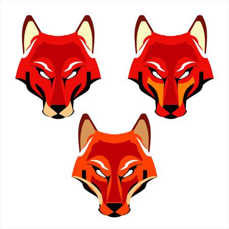 Gestileerde drie Red Fox Heads, die geschikt zijn voor uw mascotte, product pictogram, team icoon, etc