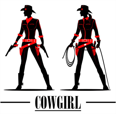 full body sihouette of beautiful cowgirl holding gun and lasso Vectores