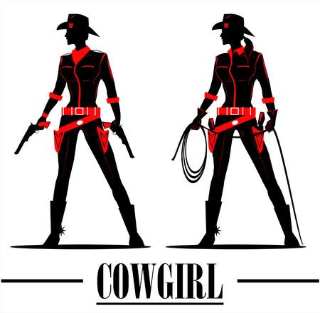 country western: sihouette plein de corps de la belle cowgirl tenant le pistolet et lasso Illustration