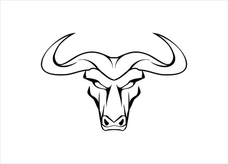 raging bull: Front view of the staring buffalo  Suitable for mascot, symbol, emblem  insignia, community identity, sport team, illustration for apparel  etc