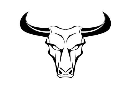 正面図のマスコット、シンボル、エンブレム記章、コミュニティのアイデンティティ、スポーツ チームのための黒い角に適しています見つめて雄牛  イラスト・ベクター素材
