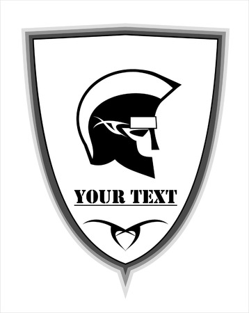 physical pressure: warrior icon on the shield  suitable for team or community identity, sport club logo or mascot, insignia, embellishment, emblem illustration for apparel, etc