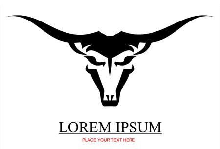 cabe�a de animal: touro negro com a extrema espalhando chifre longo, front view adequado para mascote, símbolo, emblema insignia
