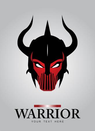 Rogata głowa Warr Mascot. Czarny Rogaty Warr. Czarny Warr kask. starożytnej głowy Warr. Nadaje się do ikony gry, tożsamości zespołu, insygniów, godło, symbol, maskotki, motocykl / Wspólnota rowerzystę itp Ilustracje wektorowe