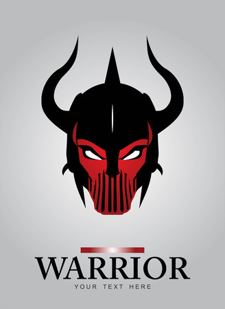 Horned head Warrior Mascot. Black Horned Warrior. Black Warrior helmet. ancient warrior head. Suitable for game icon,  team identity, insignia, emblem, symbol, mascot, motorcyclebiker community, etc.