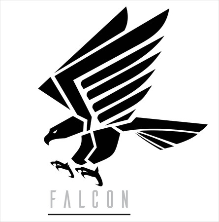 Attacking Falcon, Flying Eagle, spread out its feather. Suitable for team Mascot, team icon, corporate identity, community identity, product identity, illustration for apparel, clothing, sign, etc. Векторная Иллюстрация