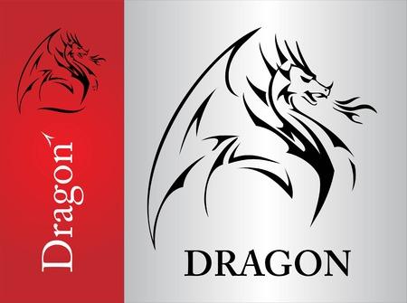 Dragon, dragon croquis, étendant son aile. Dragon avec la flamme de la bouche. Shooter dragon. Dragon avec feu. Attaquer dragon. puissance symbolisant, la protection, la dignité, la sagesse, etc. Banque d'images - 61068134