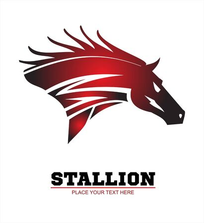 Horse, horse head. Running stallion head in beautiful red maroon color.  イラスト・ベクター素材