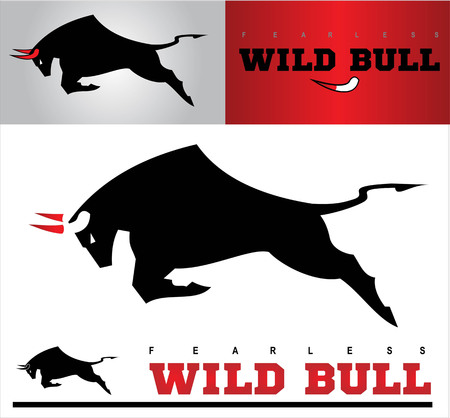 Bull. Charging Black Bull with the Bloody Horns. each image placed on separate layers. unique design on the horn of the main bull in the center, horn built by negative space between head and blood.