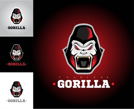 Gorilla head in various background..