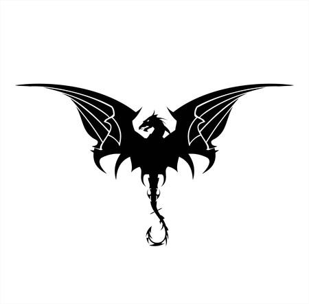 Black Dragon, Drachen, breitet seine Flügel. Eleganter schwarzer Drache mit dem Biege Schwanz, als Symbol für Macht, Schutz, Würde, Weisheit, usw. Geeignet für Team-Symbol, Gemeinschaftsidentität, usw.