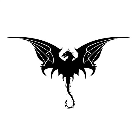 Black Dragon, Dragon, spreading its wing. Elegant Black Dragon with the bending tail, symbolizing power, protection, dignity, wisdom, etc. Suitable for  team icon, community identity, etc