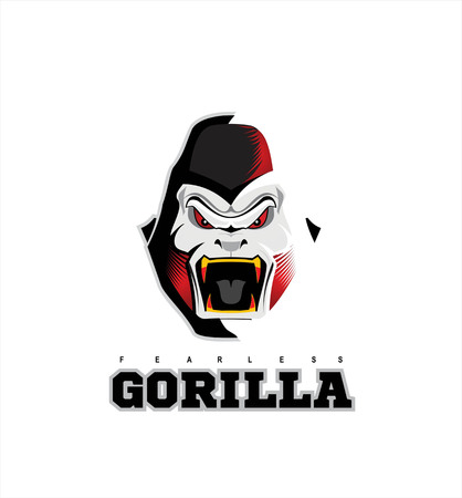 rampage: Gorilla. Gorilla face. Gorilla head on the white background with the light effect from side. Illustration