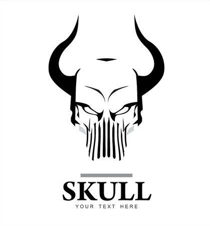 skull with the horn, in black and white. suitable for extreme sport activity, biker community, emblem, logo, icon, etc.