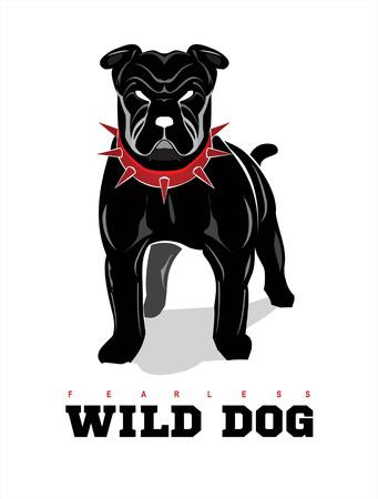 Rottweiler. Buldog. Perro en posición de alerta
