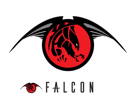 attacking: unique design of attacking falcon. chasing falcon with the extreme claw  attacking black falcon with sharp big claw on the winged red circle tribal.