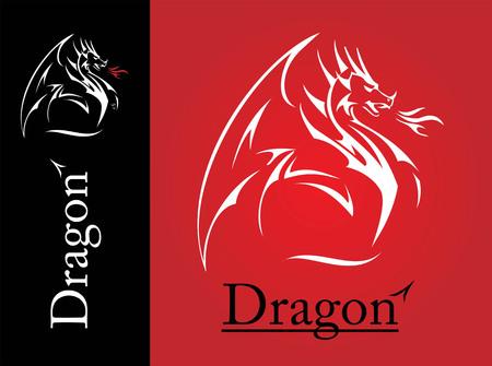 White Dragon, Dragon lijntekeningen, het verspreiden van zijn vleugel. White Dragon met de vlam uit de mond. Shooter Dragon. Dragon with Fire. Aanvallen Draak. symbool van macht, bescherming, waardigheid, wijsheid, enz. Vector Illustratie