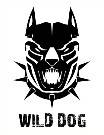 canine: Pitbull. Doberman. Boxer.  Wild dog. Black wild dog. Stylized Black Canine in black & white, suitable for team mascot, community icon, emblem, product identity, extreme sport, sign, symbol, etc Illustration