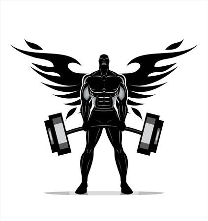 constructor del cuerpo con alas. Silueta de cuerpo entero de la ilustración Bodybuilder modelo de fitness, hombre icono intensidad de potencia adecuado para el club de fitness, gimnasio, club de la aptitud del deporte concepto creativo. Combatiente. club de la lucha