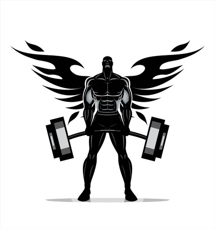 Winged Body builder. Full body Silhouette of Bodybuilder fitness model illustration, Power strength man icon suitable for fitness club, gym, Sport Fitness club creative concept. Fighter. Fighting Club 矢量图像