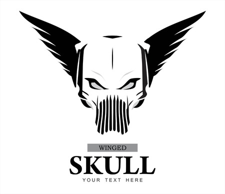Winged Skull. warrior ghost. ghost warrior. winged ghost. Rider. Biker. Artwork. Winged Skull in black and white. Suitable for team identity, insignia, emblem, mascot, apparel, biker community, etc Stok Fotoğraf - 61068379
