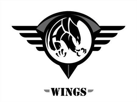 team sports: atacando halcón negro en el escudo círculo negro alas. alas del equipo.