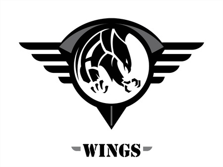 shield with wings: attacking black hawk on the black winged circle shield. wings of team.