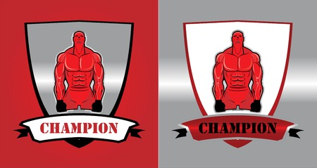 mix fighting: Fighter, Bodybuilder. Masculine.Muscular man. Sportsman character. Sport Fitness club creative concept. Fighting Club icon concept. Illustration