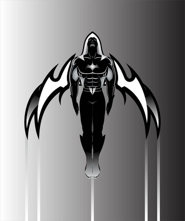 winged man. winged human silhouette. Sport Fitness club creative concept. Fighting Club  Superhero. Winged Superhero. Flying Superhero across the sky. Night Traveler. Outer space discovery.