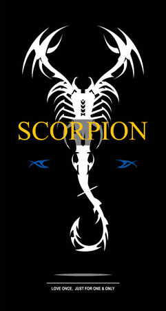 labelled: white scorpion. scorpion with the bent tail. stylized scorpion combine with text. labelled scorpion