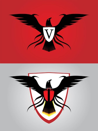 black eagle. V on the shield symbolizing Victory, Viva. or replace it with your initial company, community, etc.