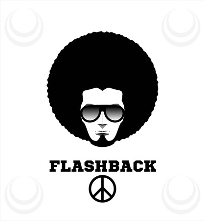 flashback: Retro man in 1970s hairstyle. Frizzy, 70s. Illustration
