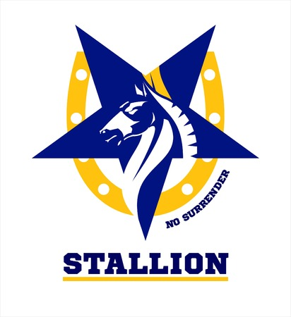star mascot: horse. horse mascot. Stallion. horse head combine with star icon and horseshoe.