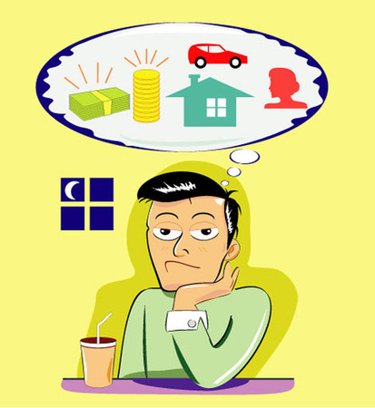 materialistic: Cartoon vector illustration showing lonely man daydreaming at night