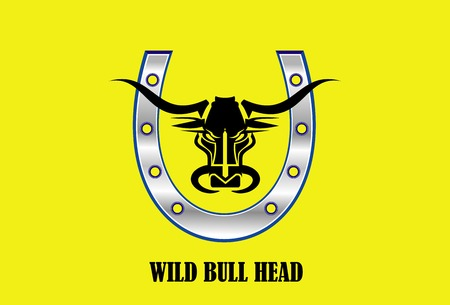Stylized Black Bull Head & Metallic Horseshoe on yellow background.