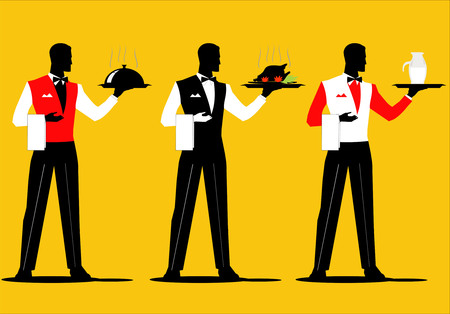 A set of waiter holding a tray with various uniform. Dish up various cuisine