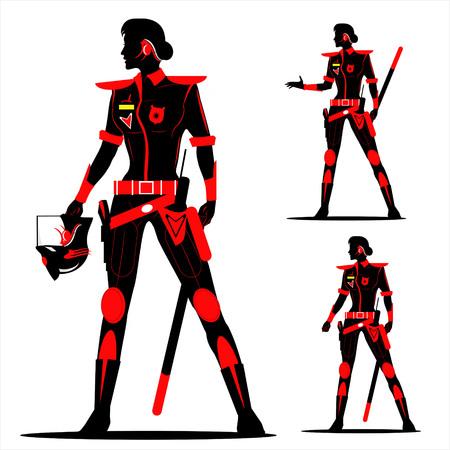 mujer policia: Mujer policía antidisturbios. futura policía sin casco en Negro y Rojo.