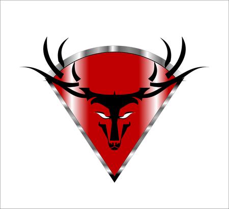 Wild Buck Head Icon on the red Metallic diamond shield Illustration