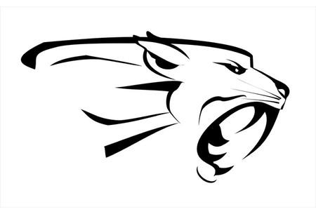 cabeza de jaguar, rugido cara colmillo. Sin miedo Puma. Rugiente Predator. Rugiente puma. la cabeza de la pantera, pantera de la cabeza elegante. depredador Ilustración de vector