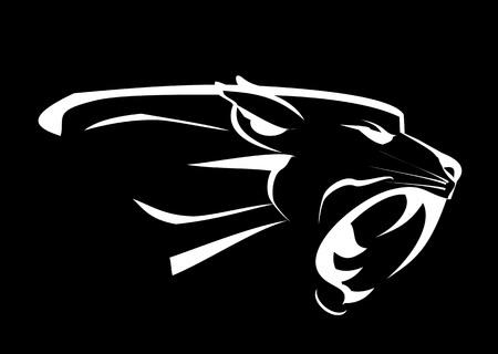 Testa di pantera, ruggente Fang volto nel buio. Panther Fearless. Roaring Predator. Roaring Panther. testa di pantera, elegante testa di pantera. predatore notturno Archivio Fotografico - 69258898