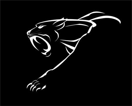 Fang faccia panther muscolare, ruggente e strisciando nel buio