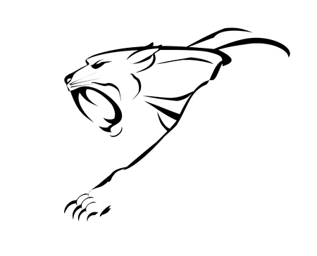 crouch: fang face big cat, roaring and crawling. black illustration on white background.