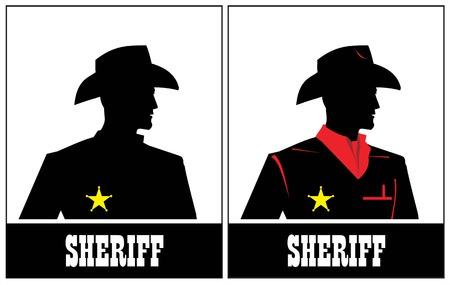 Side view of Sheriff, cowboy profile. Sheriff Silhouette, cowboy silhouette.