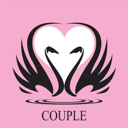 couple, couple of swan and heart icon,couple in love. Suitable for wedding symbol, wedding invitation, romantic gift, true love icon, wedding anniversary, romantic moment, symbol of honeymoon, etc.