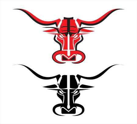 stylized bull head in red and black