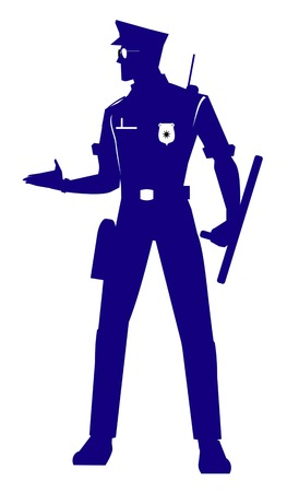 full body silhouette of Police Officer Illustration