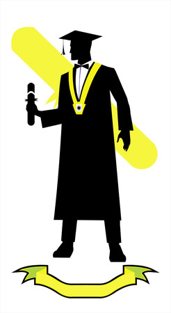 young graduate holding a diploma, full body silhouette on white background.